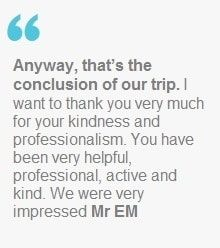 ''Anyway, that's the conclusion of our trip. I want to thank you very much for your kindness and professionalism.